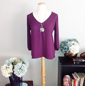 Forever 21 purple long sleeve blouse sz S